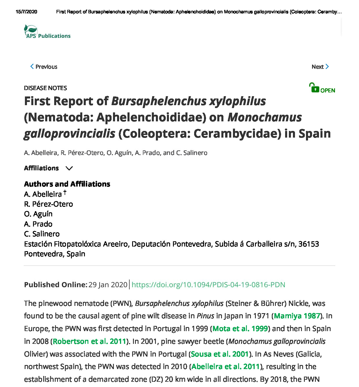 First Report of Bursaphelenchus xylophi